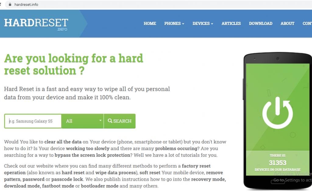 هنگام فراموش کردن رمز گوشی یا وقتی که سرعت گوشیتون کم شده برای فلش کردن یا همون هارد ریست کردن گوشی  وارد سایت www.hardreset.info شوید .